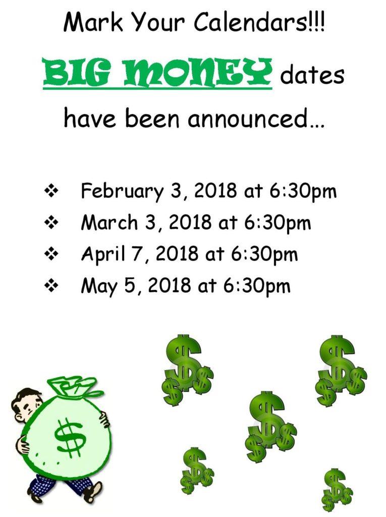 Upcoming big money nights at 40et8 Bingo!